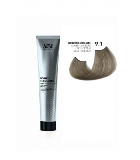 Крем-краска для волос SHOT Born To Be Colored Hair Color Cream (Цвет: 9.1 Очень светлый блонд пепельный) - 1